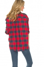 Essentiel Antwerp |  Checkered blouse Romance | red  | Picture 5