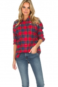 Essentiel Antwerp |  Checkered blouse Romance | red  | Picture 2