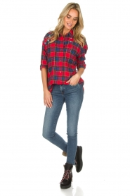 Essentiel Antwerp |  Checkered blouse Romance | red  | Picture 6