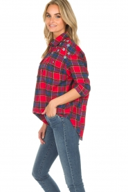 Essentiel Antwerp |  Checkered blouse Romance | red  | Picture 4