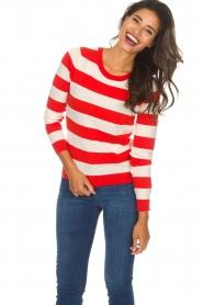 Essentiel Antwerp |  Striped sweater Ricard | red  | Picture 2