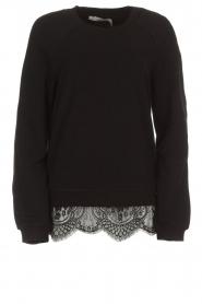 Aaiko | Sweatshirt met kanten detail Nadia | zwart  | Afbeelding 1