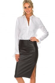 Dante 6 |  Leather skirt Giselle croco | black  | Picture 2