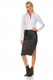 Dante 6 |  Leather skirt Giselle croco | black  | Picture 3