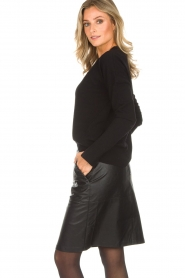 Knit-ted |  Faux leather skirt Aukje | black  | Picture 4