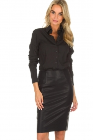 Knit-ted |  Faux leather skirt Astrid | black  | Picture 2