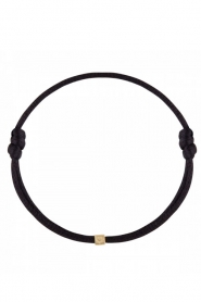Just Franky |  Silk bracelet with 14k gold Cube Black | black  | Picture 1