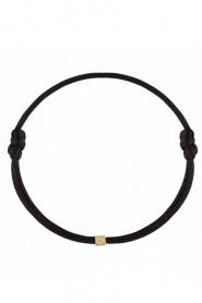 Just Franky | Zijden armband met 14k goud Cube Black | zwart  | Afbeelding 1