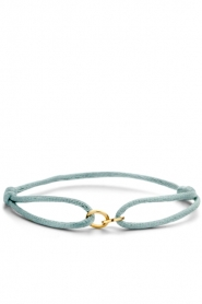 Just Franky |  Silk bracelet with 14k gold Open Circles | gold  | Picture 1