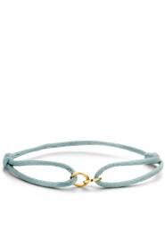 Just Franky | Zijden armband met 14k goud Open Circles | blauw  | Afbeelding 1