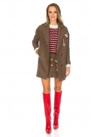 Silvian Heach |  Pied-de-poule coat Irapuato | brown  | Picture 3