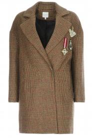 Silvian Heach |  Pied-de-poule coat Irapuato | brown  | Picture 1