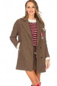 Silvian Heach |  Pied-de-poule coat Irapuato | brown  | Picture 2