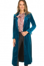 Silvian Heach |  Velvet trench coat Taree | blue  | Picture 2
