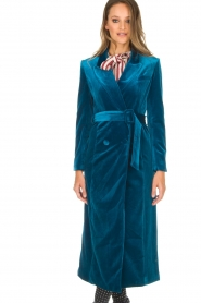 Silvian Heach |  Velvet trench coat Taree | blue  | Picture 4