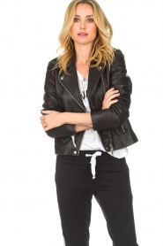 Set |  Leather biker jacket Tyler | black  | Picture 2