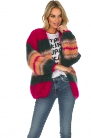 Les tricots d'o |  Wool cardigan Ibana | pink  | Picture 4