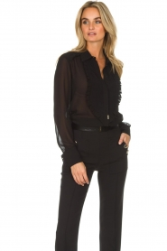 ELISABETTA FRANCHI |  Blouse with ruffles Filomena | black  | Picture 4