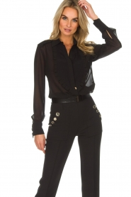 ELISABETTA FRANCHI |  Blouse with ruffles Filomena | black  | Picture 3