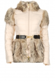 ELISABETTA FRANCHI |  Down jacket with faux-fur Victoria | natural  | Picture 1