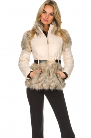 ELISABETTA FRANCHI |  Down jacket with faux-fur Victoria | natural  | Picture 2