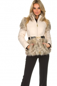 ELISABETTA FRANCHI |  Down jacket with faux-fur Victoria | natural  | Picture 4
