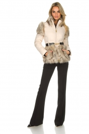 ELISABETTA FRANCHI |  Down jacket with faux-fur Victoria | natural  | Picture 3