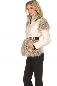 ELISABETTA FRANCHI |  Down jacket with faux-fur Victoria | natural  | Picture 5