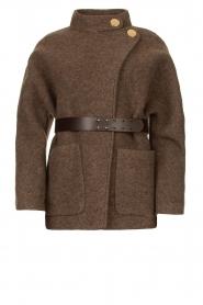 ba&sh |  Belted wool coat Calvi | brown  | Picture 1