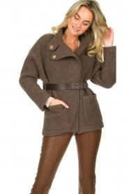 ba&sh |  Belted wool coat Calvi | brown  | Picture 2