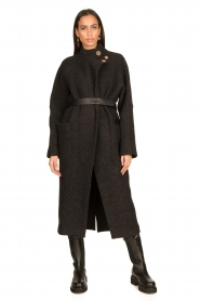 ba&sh |  Belted wool coat Come | dark grey  | Picture 4