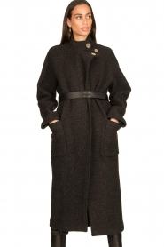 ba&sh |  Belted wool coat Come | dark grey  | Picture 2