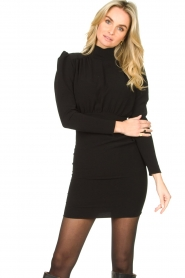 ba&sh |  Dress with puff sleeves Kina | black  | Picture 4