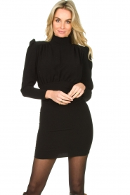 ba&sh |  Dress with puff sleeves Kina | black  | Picture 2
