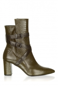 Janet & Janet |  Leather boots with buckle details Militair | green