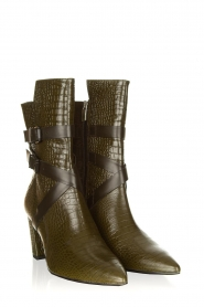 Janet & Janet |  Leather boots with buckle details Militair | green   | Picture 4