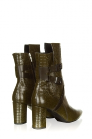 Janet & Janet |  Leather boots with buckle details Militair | green   | Picture 5