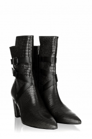 Janet & Janet |  Leather boots with buckle details Militair | black  | Picture 3