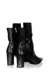 Janet & Janet |  Leather boots with buckle details Militair | black  | Picture 4
