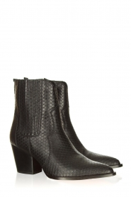 Toral |  Leather ankle boots with scales pattern Jill | black  | Picture 4
