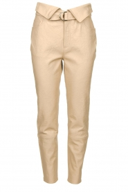 Dante 6 |  Leather belted pants Zola | beige  | Picture 1