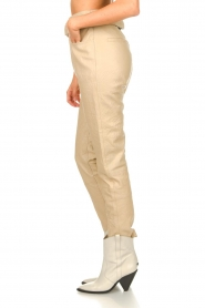 Dante 6 |  Leather belted pants Zola | beige  | Picture 6