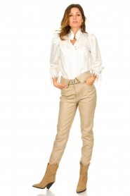 Dante 6 |  Leather belted pants Zola | beige  | Picture 2