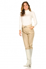 Dante 6 |  Leather belted pants Zola | beige  | Picture 3