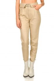 Dante 6 |  Leather belted pants Zola | beige  | Picture 4