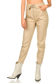 Dante 6 |  Leather belted pants Zola | beige  | Picture 5