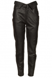 Dante 6 |  Leather pants with belt Zola | black  | Picture 1