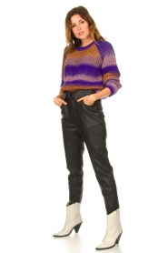 Dante 6 |  Leather pants with belt Zola | black  | Picture 2