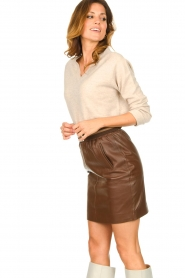 Dante 6 :  Leather skirt Dyna | brown - img5