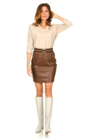 Dante 6 :  Leather skirt Dyna | brown - img3